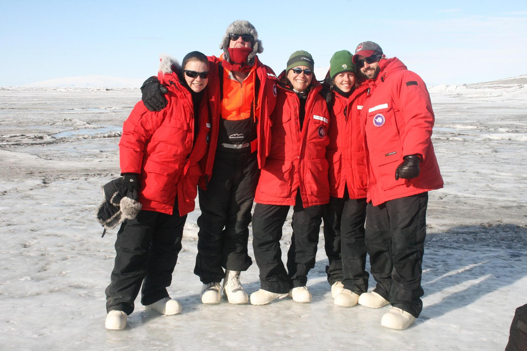 Gretchen Hofmann and her students on the ice in Antarctica